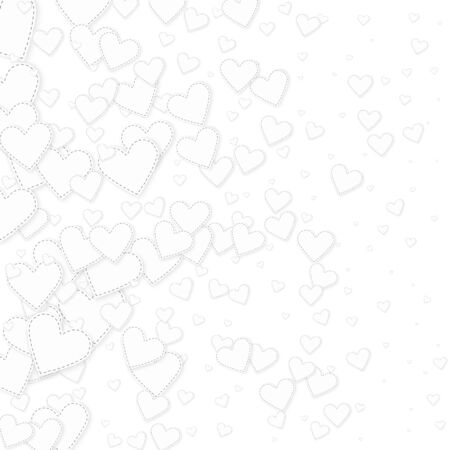 White heart love confettis. Valentines day gradient sublime background. Falling stitched paper hearts confetti on white background. Excellent vector illustration.