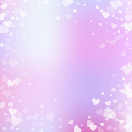 White heart love confettis. Valentines day vignette pretty background. Falling transparent hearts confetti on soft background. Dazzling vector illustration.