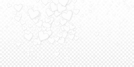 White heart love confettis. Valentines day explosion great background. Falling stitched paper hearts confetti on transparent background. Dramatic vector illustration.