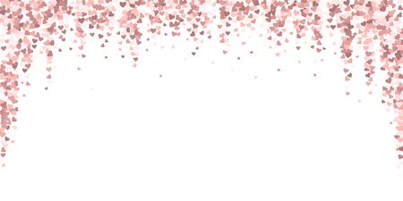 Pink heart love confettis. Valentines day falling rain dramatic background. Falling flat hearts confetti on white background. Elegant vector illustration.
