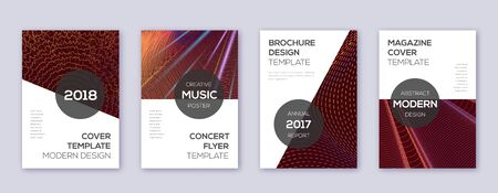 Modern brochure design template set. Orange abstract lines on wine-red background. Beauteous brochure design. Alluring catalog, poster, book template etc. Banco de Imagens - 138523327