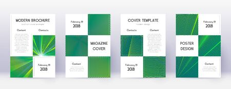 Business brochure design template set. Green abstract lines on dark background. Adorable brochure design. Energetic catalog, poster, book template etc.