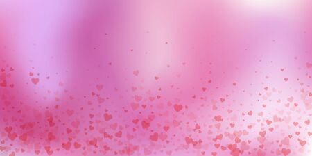 Red heart love confettis. Valentines day falling rain fresh background. Falling transparent hearts confetti on delicate background. Eminent vector illustration. Illusztráció