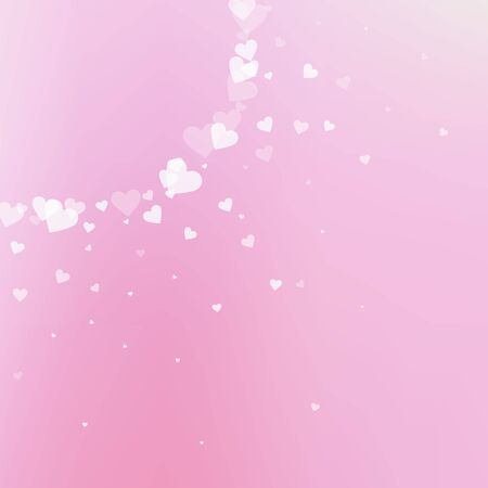 White heart love confettis. Valentine's day corner powerful background. Falling transparent hearts confetti on delicate background. Dramatic vector illustration.
