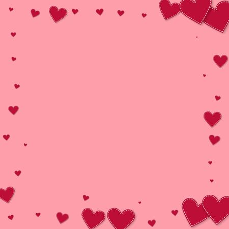 Red heart love confettis. Valentines day frame outstanding background. Falling stitched paper hearts confetti on pink background. Enchanting vector illustration.