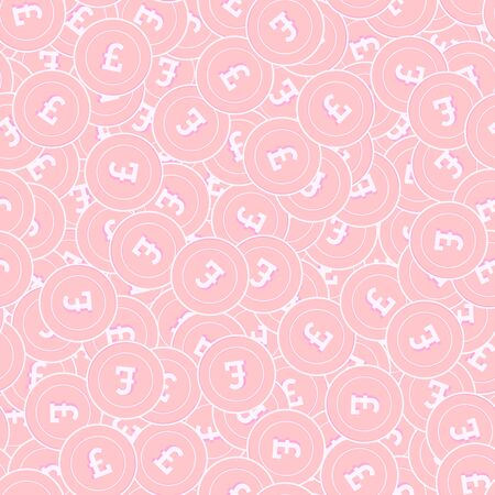 British pound copper coins seamless pattern. Energetic scattered pink GBP coins. Success concept. United Kingdom money pattern. Coin vector illustration. 일러스트
