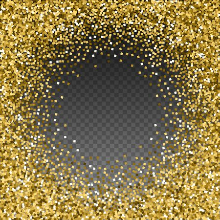 Gold glitter luxury sparkling confetti. Scattered small gold particles on transparent background. Appealing festive overlay template. Resplendent vector illustration.