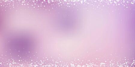 White heart love confettis. Valentine's day border neat background. Falling transparent hearts confetti on pinkish background. Decent vector illustration. 일러스트
