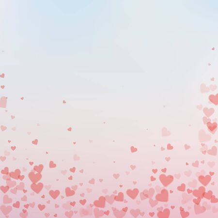 Red heart love confettis. Valentine's day falling rain fair background. Falling transparent hearts confetti on gradient background. Creative vector illustration.