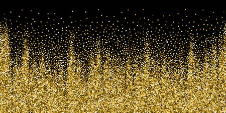 Round gold glitter luxury sparkling confetti. Scattered small gold particles on black background. Beautiful festive overlay template. Pretty vector illustration.