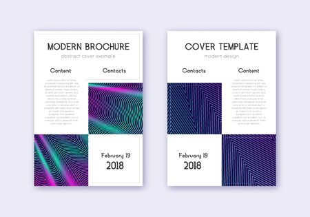 Business cover design template set. Neon abstract lines on dark blue background. Artistic cover design. Ecstatic catalog, poster, book template etc.
