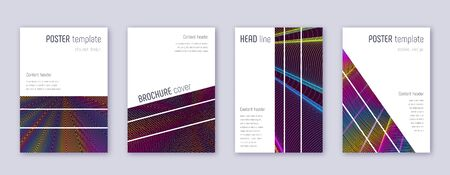 Geometric brochure design template set. Rainbow abstract lines on wine red background. Alluring brochure design. Precious catalog, poster, book template etc.
