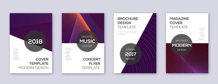 Modern brochure design template set. Violet abstract lines on dark background. Beauteous brochure design. Pleasant catalog, poster, book template etc. Banco de Imagens - 138523646