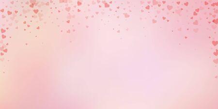 Red heart love confettis. Valentines day falling rain impressive background. Falling transparent hearts confetti on soft background. Ecstatic vector illustration. Çizim