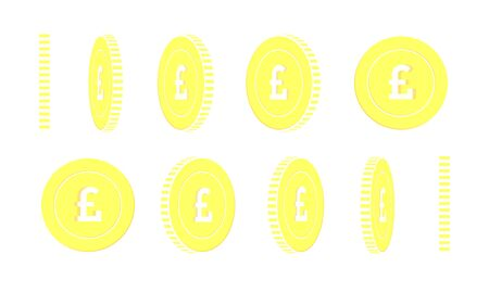 British pound rotating coins set, animation ready. Yellow GBP gold coins rotation. United Kingdom metal money. Exquisite cartoon vector illustration.