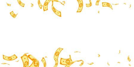 Korean won notes falling. Random WON bills on white background. Korea money. Delightful vector illustration. Mind-blowing jackpot, wealth or success concept.