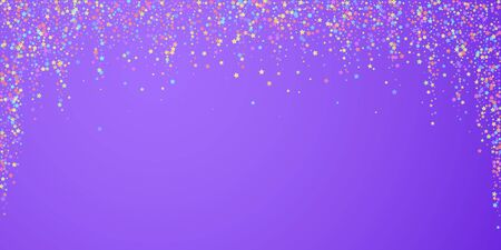 Festive confetti. Celebration stars. Colorful stars on bright purple background. Dazzling festive overlay template. Positive vector illustration.