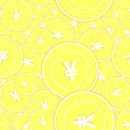 Chinese yuan gold coins seamless pattern. Imaginative scattered yellow CNY coins. Success concept. China money pattern. Coin vector illustration. 일러스트