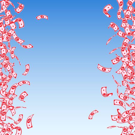 British pound notes falling. Small GBP bills on blue sky background. United Kingdom money. Attractive vector illustration. Wondrous jackpot, wealth or success concept.