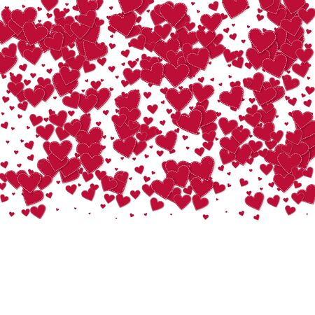 Red heart love confettis. Valentines day gradient modern background. Falling stitched paper hearts confetti on white background. Exotic vector illustration.
