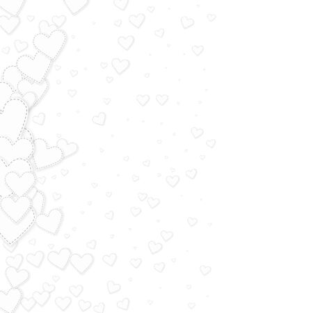 White heart love confettis. Valentine's day gradient tempting background. Falling stitched paper hearts confetti on white background. Exceptional vector illustration.