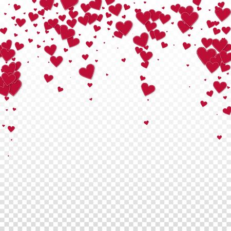 Red heart love confettis. Valentine's day falling rain gorgeous background. Falling stitched paper hearts confetti on transparent background. Cool vector illustration. Ilustrace