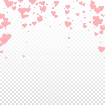 Pink heart love confettis. Valentine's day falling rain fascinating background. Falling stitched paper hearts confetti on transparent background. Cool vector illustration.