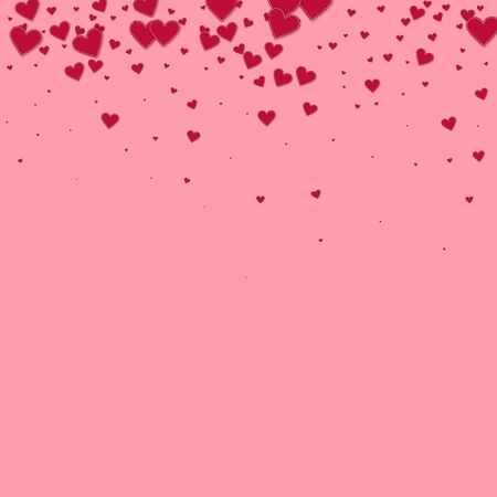 Red heart love confettis. Valentines day gradient radiant background. Falling stitched paper hearts confetti on pink background. Energetic vector illustration. Ilustração