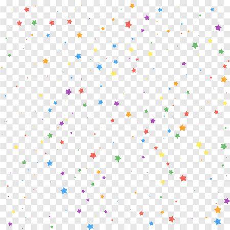 Festive confetti. Celebration stars. Joyous stars on transparent background. Classic festive overlay template. Classy vector illustration.