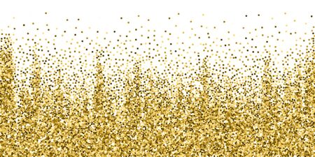 Gold glitter luxury sparkling confetti. Scattered small gold particles on white background. Beautiful festive overlay template. Indelible vector illustration. Ilustrace