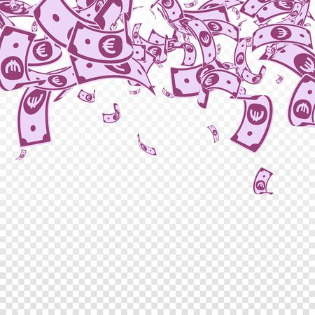 European Union Euro notes falling. Messy EUR bills on transparent background. Europe money. Appealing vector illustration. Extra jackpot, wealth or success concept.