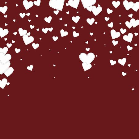 White heart love confettis. Valentine's day falling rain grand background. Falling stitched paper hearts confetti on maroon background. Cool vector illustration.