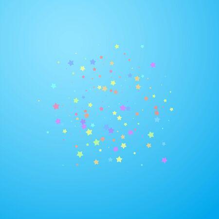 Festive confetti. Celebration stars. Colorful stars random on blue sky background. Divine festive overlay template. Extra vector illustration. Illustration