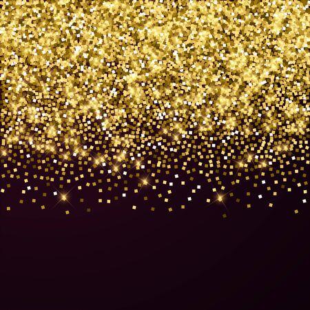 Confeti brillante de lujo dorado brillante. Pequeñas partículas de oro dispersas sobre fondo rojo granate. Adorable plantilla de superposición festiva. Ilustración de vector elegante.