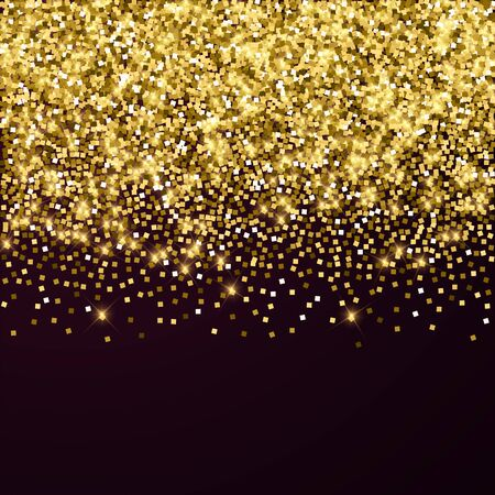 Sparkling gold luxury sparkling confetti. Scattered small gold particles on red maroon background. Adorable festive overlay template. Graceful vector illustration.
