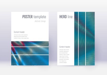 Geometric cover design template set. Red abstract lines on white blue background. Bizarre cover design. Optimal catalog, poster, book template etc.