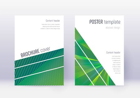 Geometric cover design template set. Green abstract lines on dark background. Breathtaking cover design. Ecstatic catalog, poster, book template etc. 向量圖像