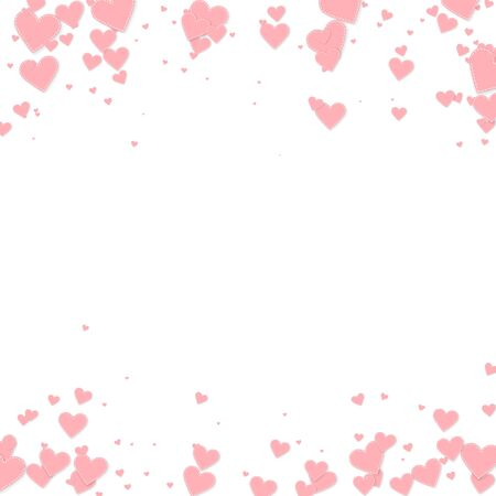 Pink heart love confettis. Valentines day falling rain rare background. Falling stitched paper hearts confetti on white background. Creative vector illustration.