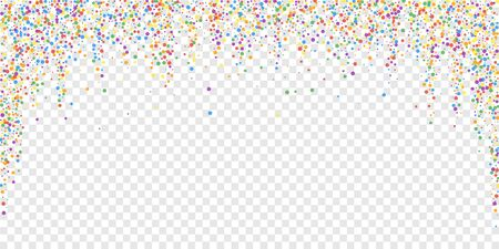 Festive confetti. Celebration stars. Rainbow confetti on transparent background. Dazzling festive overlay template. Wondrous vector illustration.