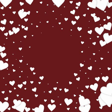 White heart love confettis. Valentine's day vignette brilliant background. Falling stitched paper hearts confetti on maroon background. Decent vector illustration.
