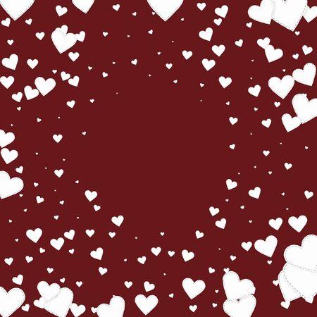 White heart love confettis. Valentines day vignette brilliant background. Falling stitched paper hearts confetti on maroon background. Decent vector illustration. Çizim