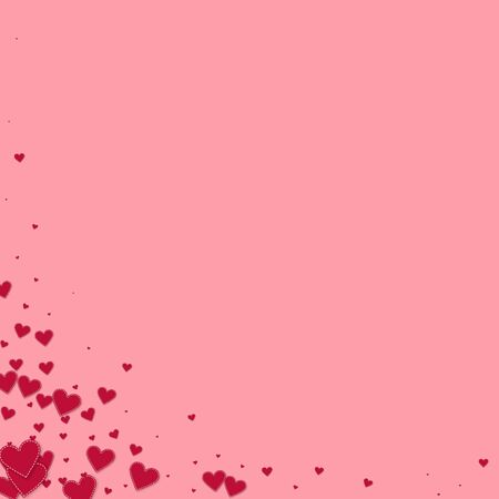 Red heart love confettis. Valentine's day corner comely background. Falling stitched paper hearts confetti on pink background. Enchanting vector illustration.