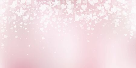 White heart love confettis. Valentines day falling rain appealing background. Falling transparent hearts confetti on soft gradient background. Ecstatic vector illustration.