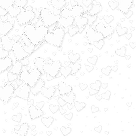 White heart love confettis. Valentines day gradient attractive background. Falling stitched paper hearts confetti on white background. Dazzling vector illustration.