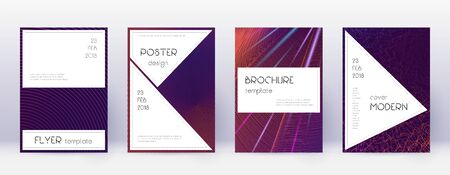 Stylish brochure design template set. Violet abstract lines on dark background. Bewitching brochure design. Immaculate catalog, poster, book template etc.
