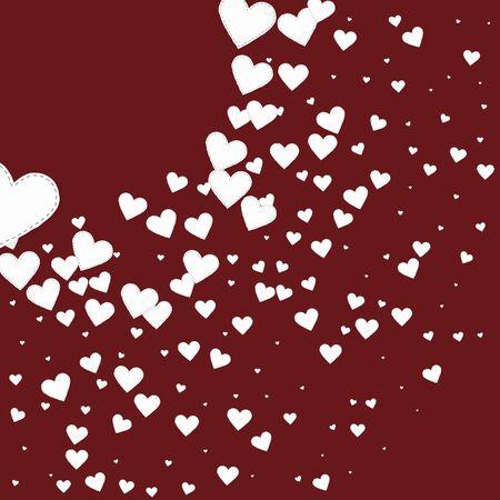 White heart love confettis. Valentines day corner original background. Falling stitched paper hearts confetti on maroon background. Dramatic vector illustration. Illusztráció