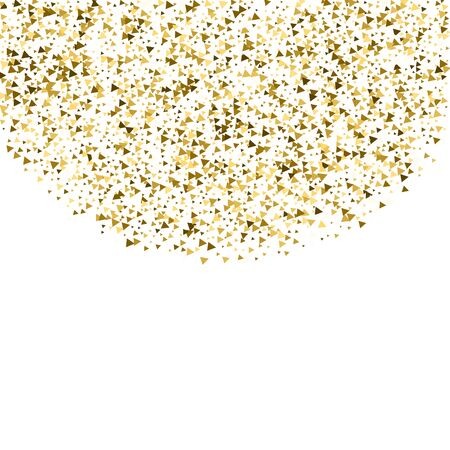 Gold triangles luxury sparkling confetti. Scattered small gold particles on white background. Amusing festive overlay template. Noteworthy vector illustration. Ilustração