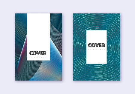 Hipster cover design template set. Red white blue abstract lines on dark background. Classy cover design. Resplendent catalog, poster, book template etc. Vetores