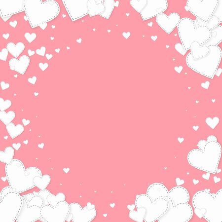 White heart love confettis. Valentine's day vignette sightly background. Falling stitched paper hearts confetti on pink background. Extraordinary vector illustration.
