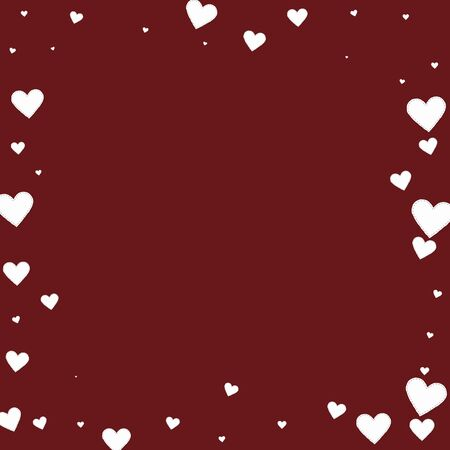 White heart love confettis. Valentines day frame positive background. Falling stitched paper hearts confetti on maroon background. Enchanting vector illustration.